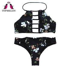 Topmelon Bikini Set Sexy Women Print Halter Black Hollow Out Backless Triangle Bikini Beachwear Bathingsuit Women Bikini Biquini