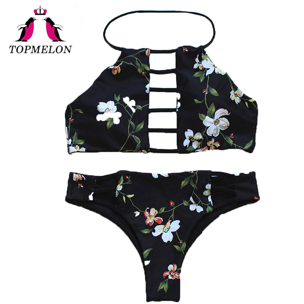Topmelon Bikini Set Sexy Women Print Halter Black Hollow Out Backless Triangle Bikini Beachwear Bathingsuit Women Bikini Biquini