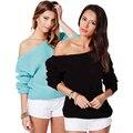 De ombro 2016 moda Plus Size mulheres blusas e capuz Sueter Mujer Haoduoyi cortado de Trico Crochet XXL