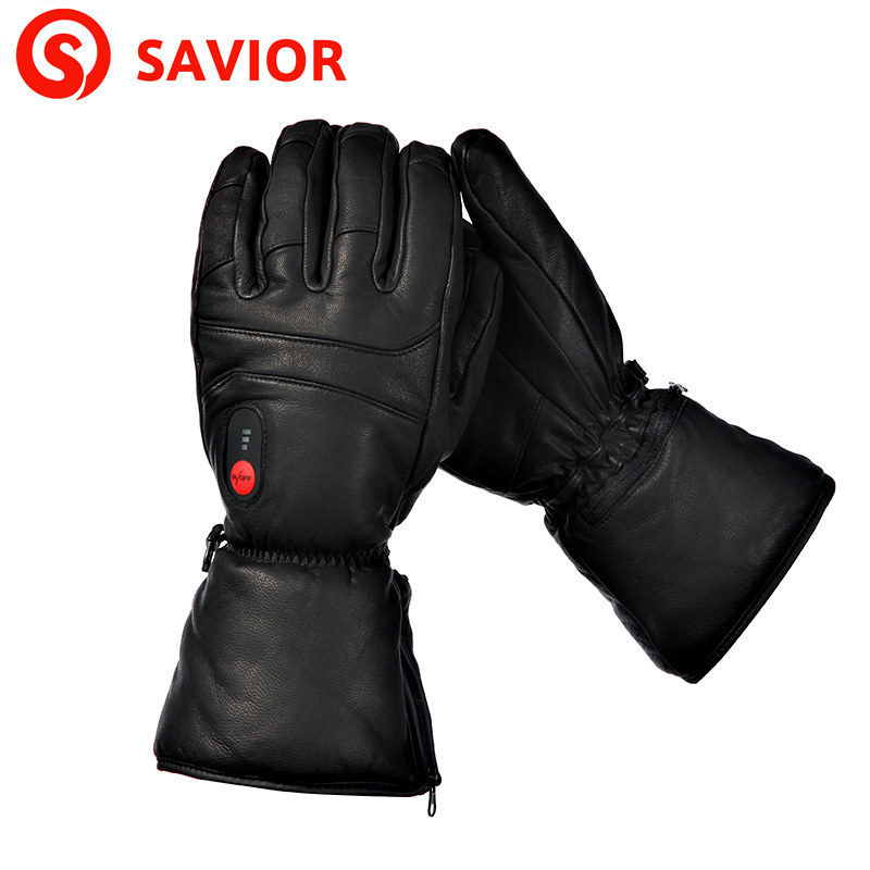 SAVIOR S-06 Winter Outdoor Sports Genuine Leather Sheepskin Electric Heating Gloves Motorcycle Gloves Hiking Gloves Waterproof
