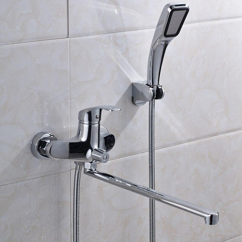 Bright Chrome Shower Faucet Long Tub Spout with Plastic Handshower ...