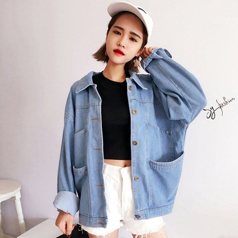Female Vintage Loose Pockets Jeans Coat Women Feminino Slim Denim Jacket Femme Elegant Bomber Jackets Basic Coats