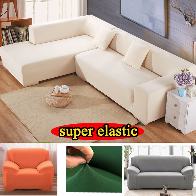 Stretch Furniture Cover Armchair Solid Polyester Sectional Fabric Slipcover  Armrest Corner Elastic Couch L Shaped Sofa