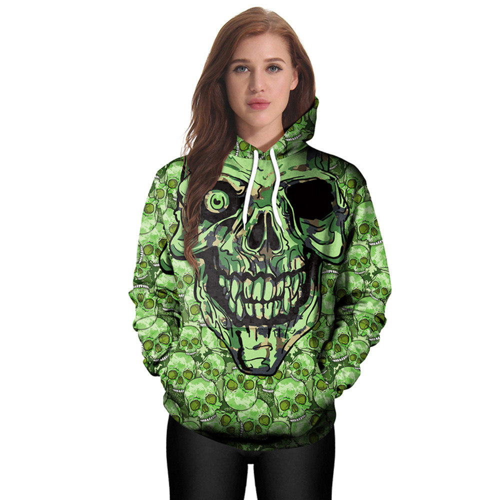 2017 Newest 3D Halloween Skull Print Pullover Hoodies for Women/men Causal Loose Harajuku Top Plus Size Hooded Sweatshirts Femme