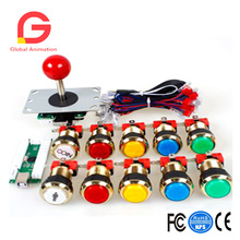 One Player Arcade DIY Kits Parts USB Encoder To PC Joystick + 5Pin Sticker + Gilded 1  Players Coin LED Lamp Lights Push Buttons