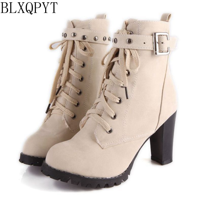 BLXQPYT Big size 34-43 New Lace up Short Boots Women Sexy Ankle Boots High Heels Fashion Winter Spring Autumn Shoes Casual A89 odetina 2017 new fashion genuine leather women platform flat ankle boots lace up casual booties autumn winter shoes big size 43