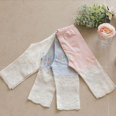 2020 Baby Girl Summer Cotton Pants Children Clothes Girls Stitching Knee Length Leggings Lace Flowers Leggings 2-11Y Kids Pants