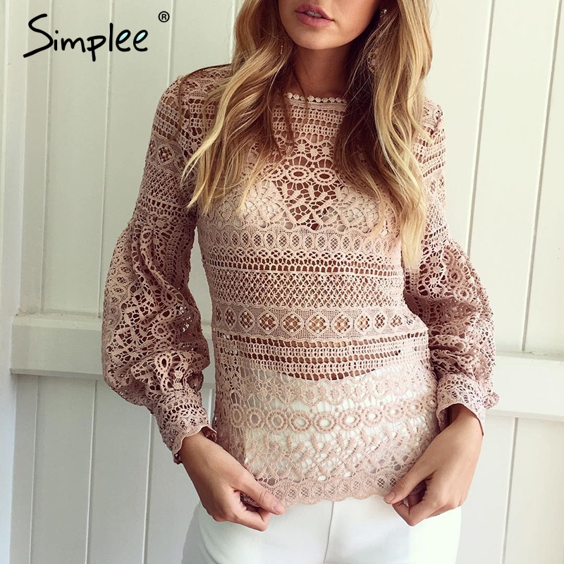 1ba3f9d4c4 ... Simplee de encaje blanco camisa blusa de las mujeres casuales hueco  linterna Rosa manga blusas otoño elegante geometría bien blusa 2016 Online  Baratos .