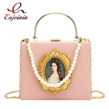 Vintage Oil Painting Badge Fashion Pu Pearl Chain Ladies Party Tote Bag Crossbody Bag For Women Pouch Handbag Totes Chain Purse
