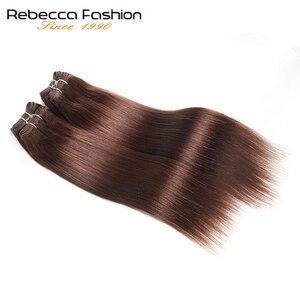 Image 3 - Rebecca mechones de pelo liso brasileño tejido, 4 mechones, 190g, negro, marrón, rojo, cabello humano en 6 colores #1 # 1B #2 #4 # 99J # Burgundy