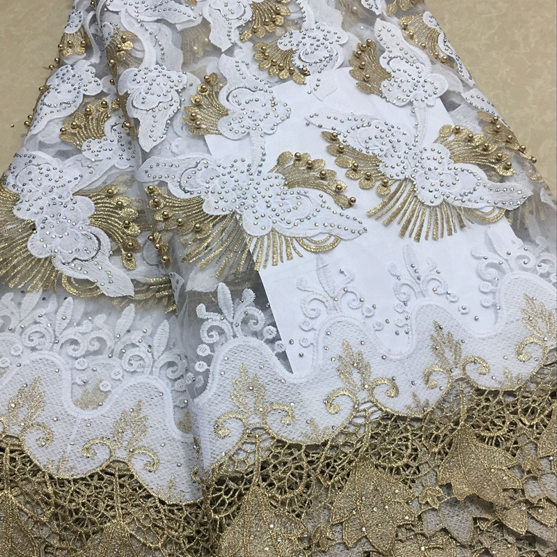 2018 Newest Styles White And Gold Embroidery African Guipure Lace Fabric High Quality French Mesh Lace Fabric With Beads NLY26-2