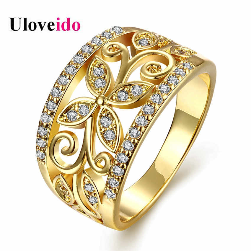 Uloveido Luxury Gold Color Wedding Engagement Ring Band Flower