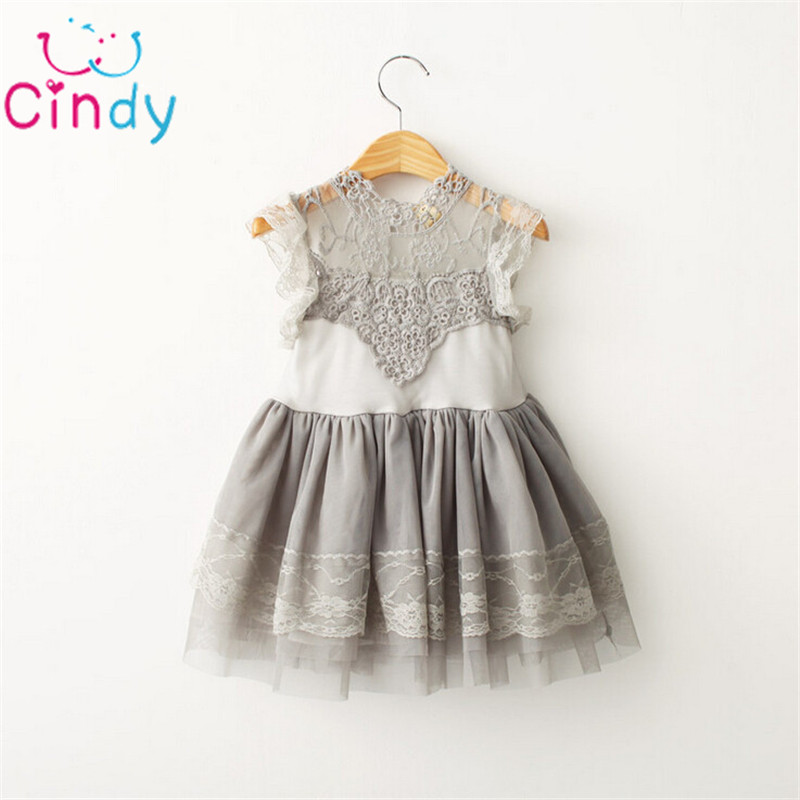 Korean Children Clothings 2016 Summer Girl Dress Vintage Ruffles Sleeve Clothes Princess Girl Party/birthday Costumes ins princess girl clothings sets flare sleeve tops