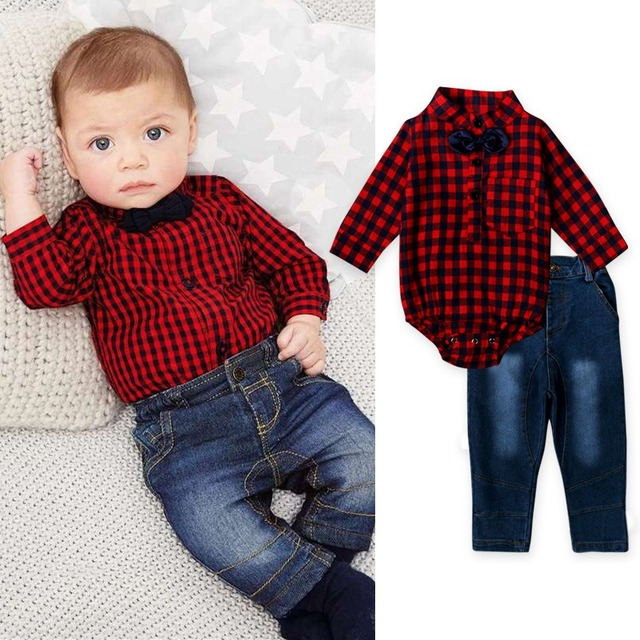 Baby Girls Boys Male Infants Kids Plaided Long Sleeve Shirt Bow Romper Tops+Denim Jeans Long Pants 2pcs Clothing Set Suit MT1055