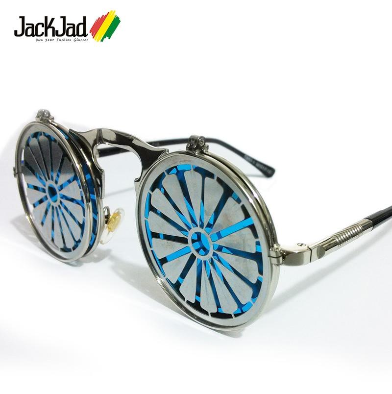 Jackjad óculos de sol estilo steampunk, óculos de sol da moda, estilo steampunk, vintage, redondo 2018