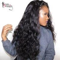 Полный конец Синтетические волосы на кружеве человеческих волос парики для Для женщин натуральный черный бразильский объемная волна Синте