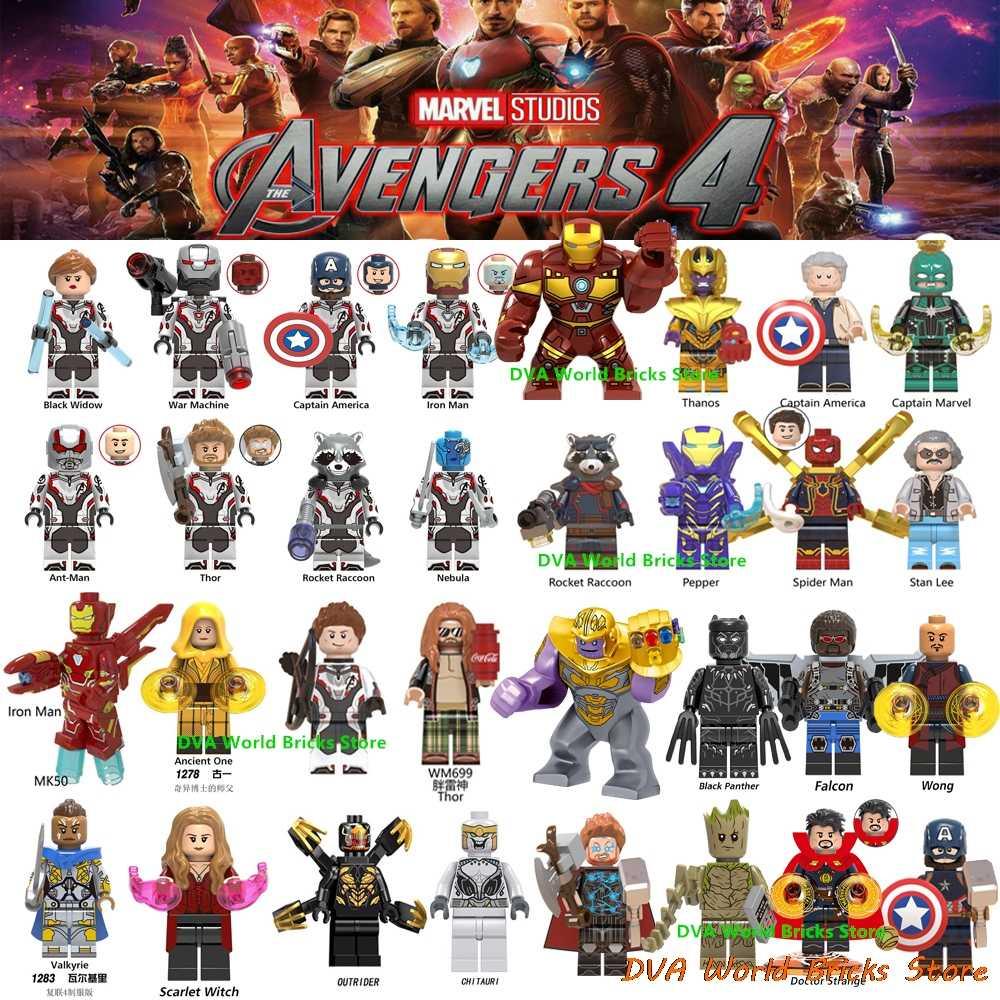 Avengers Captain Marvel Figures Endgame Pepper Spiderman Iron Man Ancient one Thor Hulk War Machine Building Blocks Bricks Toys