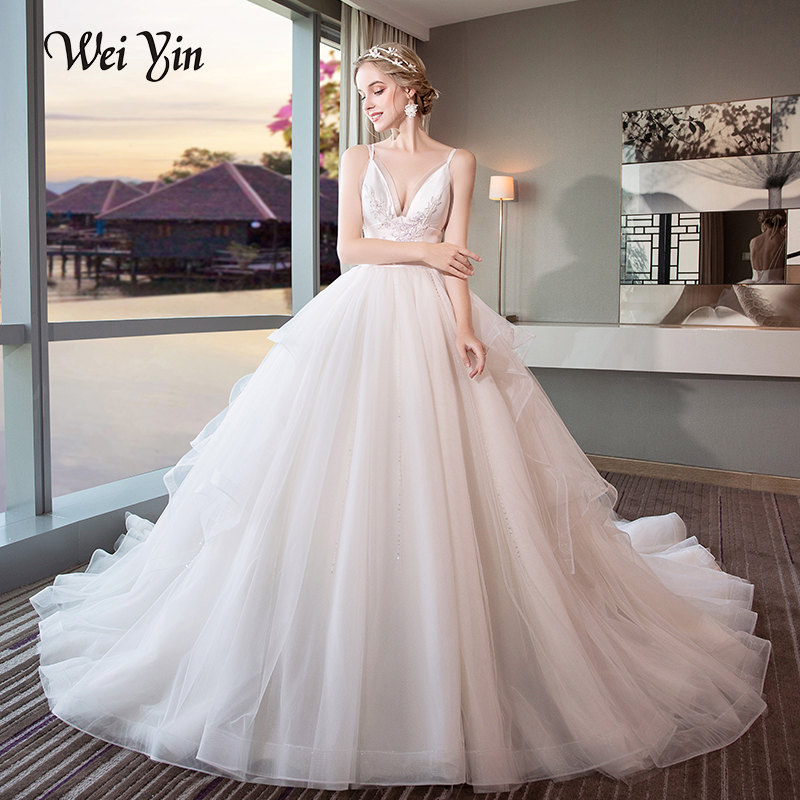 WEIYIN High Quality A Line Lace Wedding Dresses 2018 V