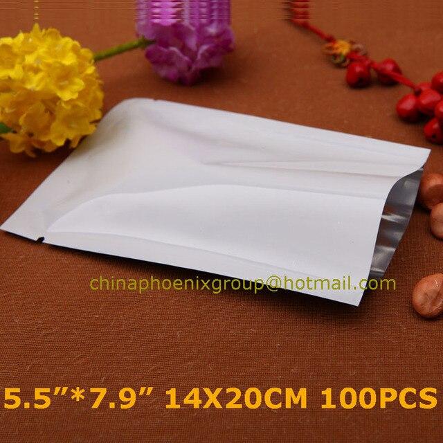 0f14439694 14x20cm White Mylar Foil Moisture Proof Heat Seal Plain Pocket Vacuum Pouch  Snack Nuts Sugar Packing Open Top Aluminum Foil Bags
