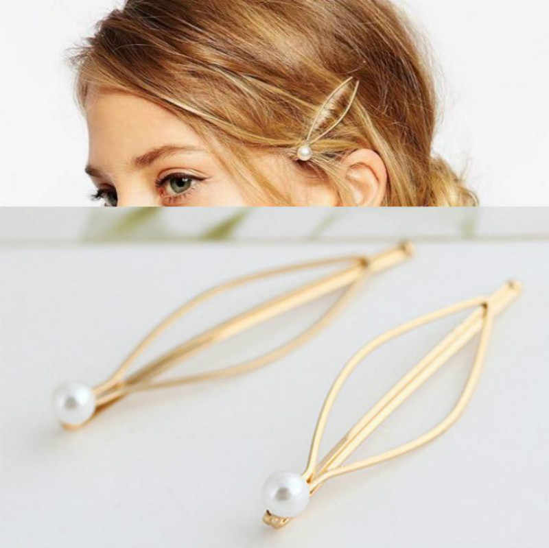 1 Pcs Simple Atmospheric Style Baitie Pearl Lady's Golden Hair Clip Design Snap Barrette Stick Hairpin Hair Styling Accessories