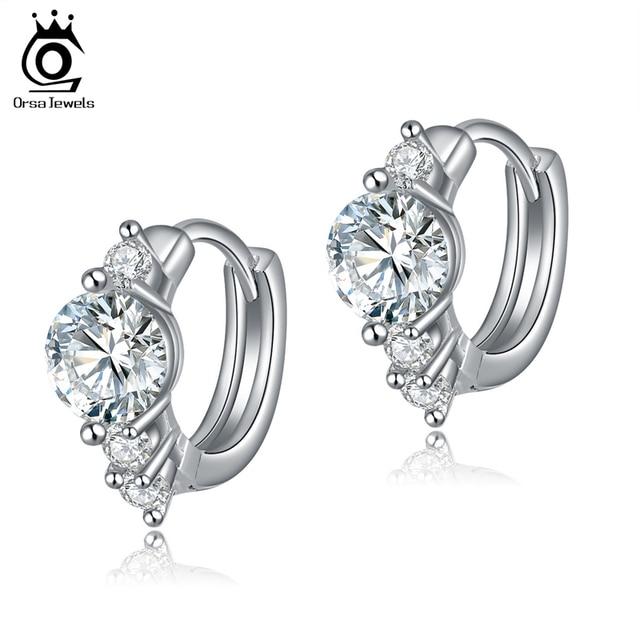 ORSA JEWELS New Arrival Silver Earring Stud with 0.75ct Hearts and Arrows Cut Zircon Crystal Women Earrings Silver 2019 OE107