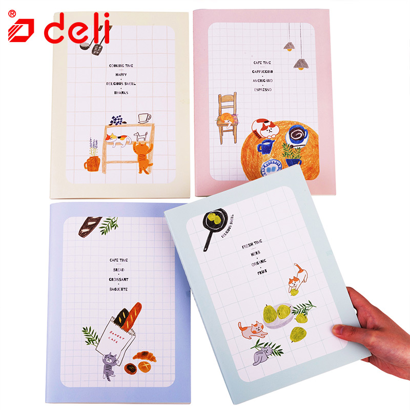 Deli 4pcs B5 Notebook for School Stationery Student Notebooks Paper 40 Sheets Cute Dairy Composition Book Office School Supplies deli new 1pc notebook korea cute stationery european retro paper cover diy a diary book cute notebook vintage weekly notebook