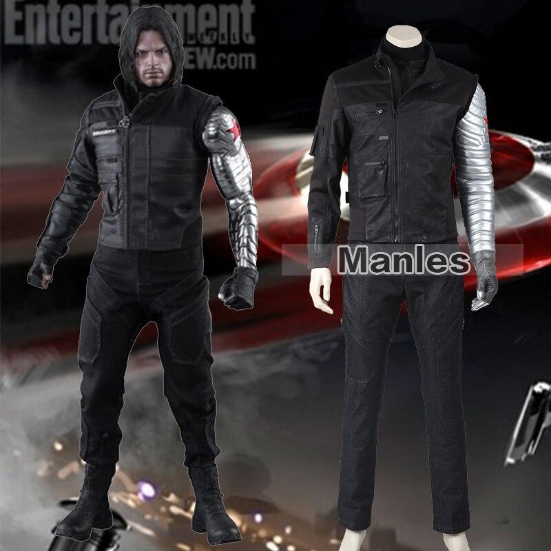 Bucky Barnes Costume Captain America Civil War Winter Soldier Costume Cosplay Marvel's Superhero Suit Adult Men Halloween