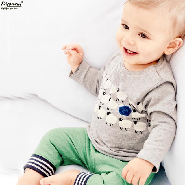 Marca de moda Garoto Encabeça Bonito Meninos T Shirt do Desenhista Meninos Da Criança Do Bebê Roupas de Algodão de Manga Comprida T Roupas Camisas Do Bebê