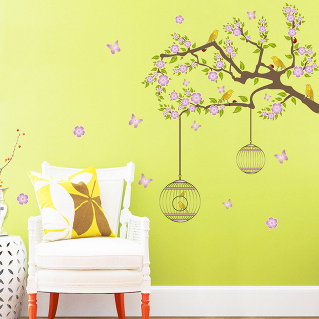 Flowers Birds Birdcages Wall Decal Home Sticker Paper Removable Art ...