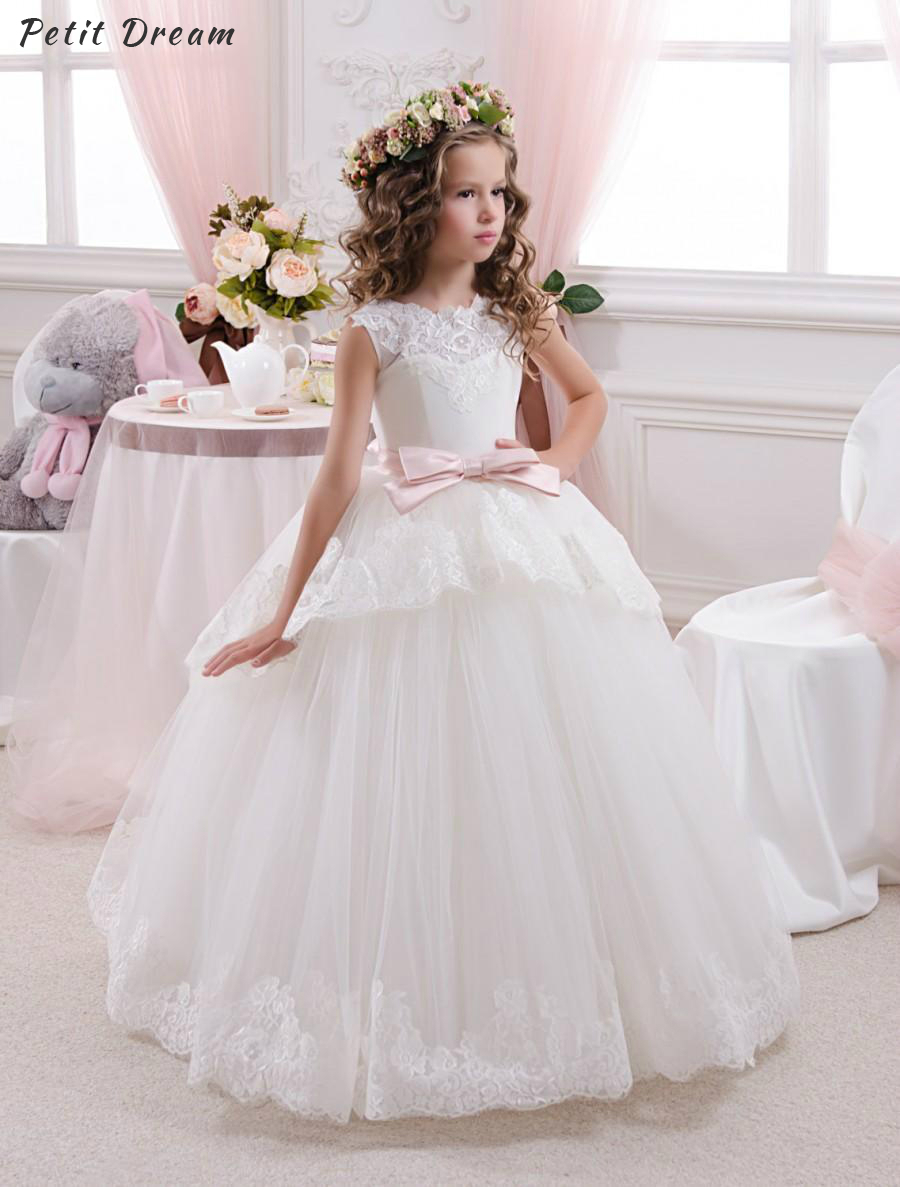 Petit Dream Elegant Vestido de Primera Communion Romance Lace Up Off The Shoulder Lace Key Hole Soft Tulle Ball Gown 2-12 Year pink off shoulder shirred bodice lace up crop top
