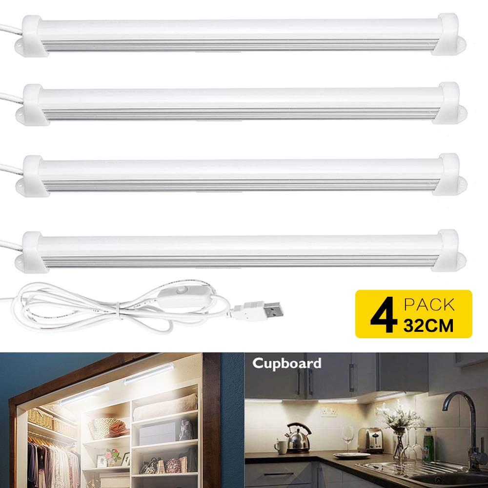 1/2/4 Pcs USB Under Cabinet Lights Closet Drawer Cupboard Lamp LED Kitchen Indoor Lighting 5W 4000K 1.8m Night Lights