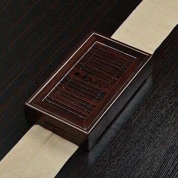 Ahşap tepsi Kung Fu Çay taşınabilir ahşap trompet gülağacı abanoz su çay masası su depolama tepsisi