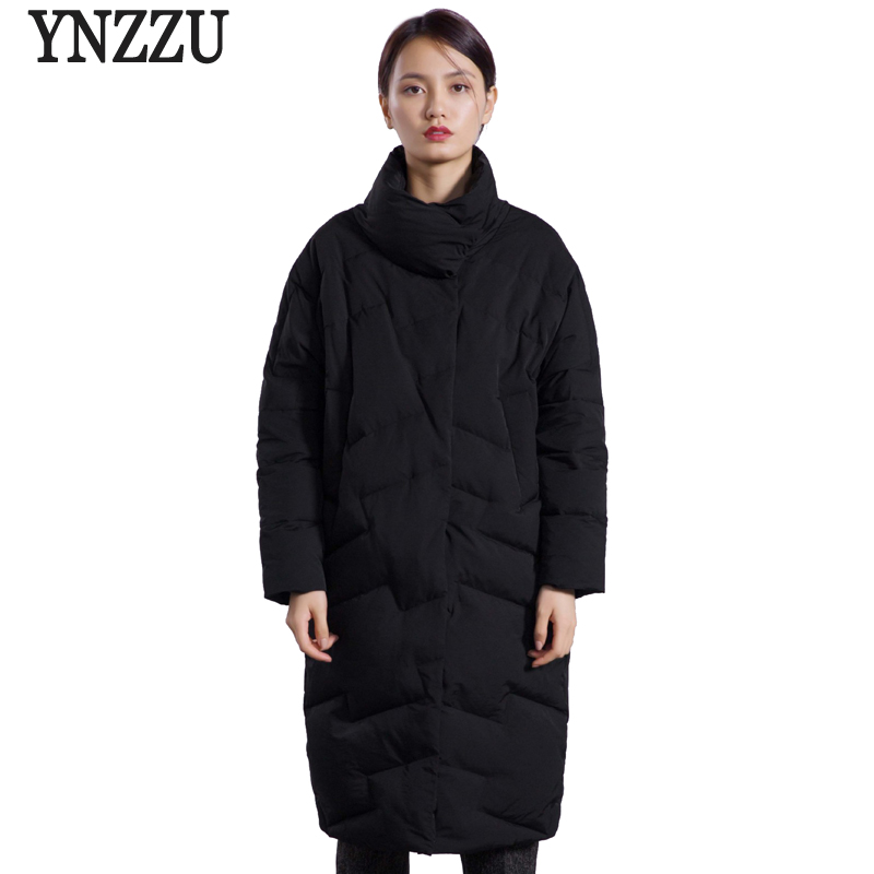 Brand 2018 Winter Women's Jacket Elegant Stand Collar Warm Mid-Long 90% White Duck   Down     Coats   Japan Style Loose OL Outwear AO604