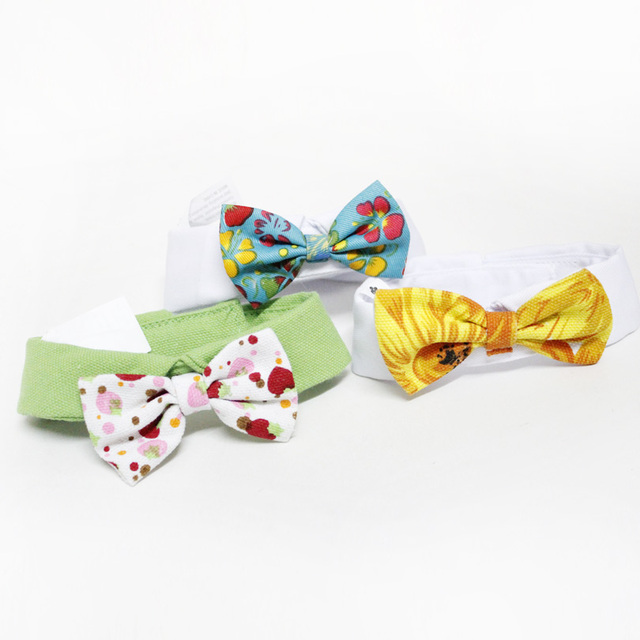 Hot Sales Pet Supplies Floral  Colors Cats Dog Tie Wedding Accessories Dogs Bowtie Collar Holiday Decoration Christmas Grooming