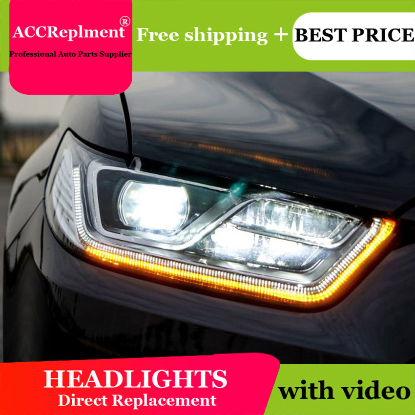 Car Styling For 2017 Ford Taurus Led Headlight Focus Headlights Lens Double Beam H7 Hid Xenon Bi
