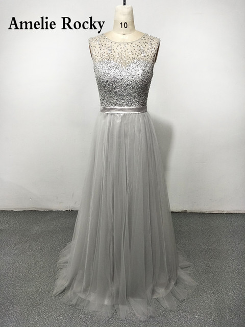 Real Beads Silver Grey Evening Dress Long Elegant Formal Dresses