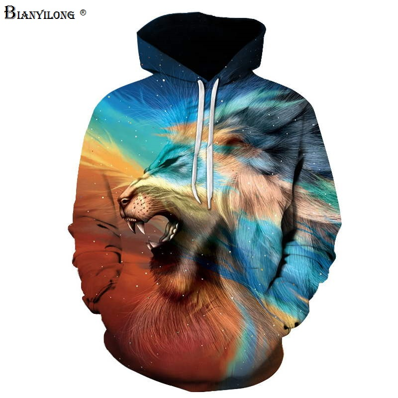BIANYILONG Brand Sweatshirts Men women 3d Sweatshirts Print Animal Colored Lion deer Hooded Hoodies Pullover Tops