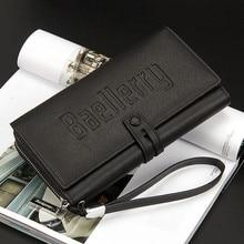 Men Vintage Large Wallet Purse wallets with coin pocket long zipper coin purse for men clutch business Male Wallet Double zipper недорого