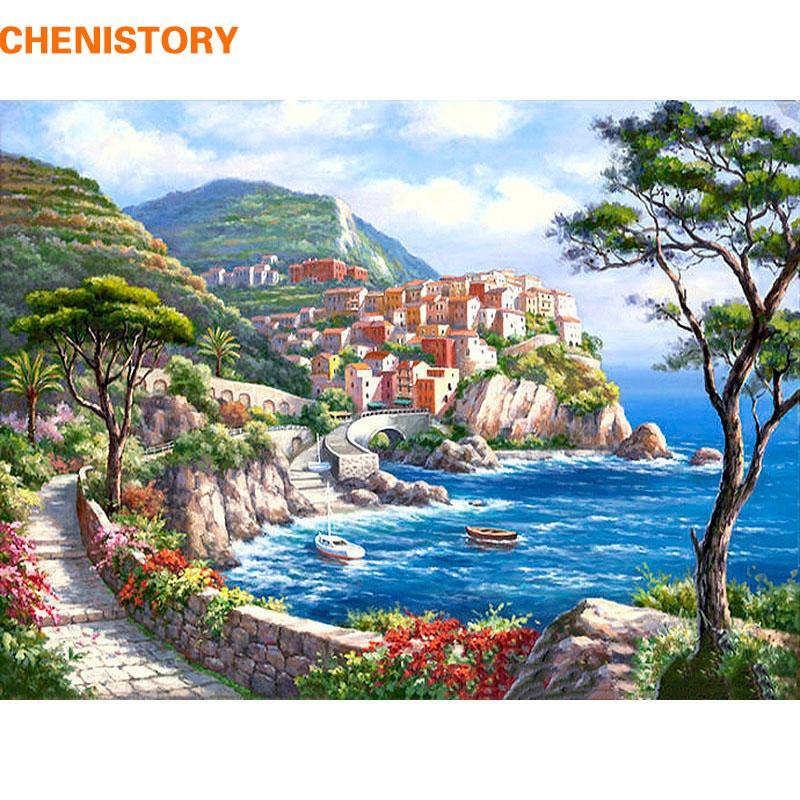 chenistory el mar mediterrneo seascape pintura diy by nmeros de casa moderna de pared imagen de