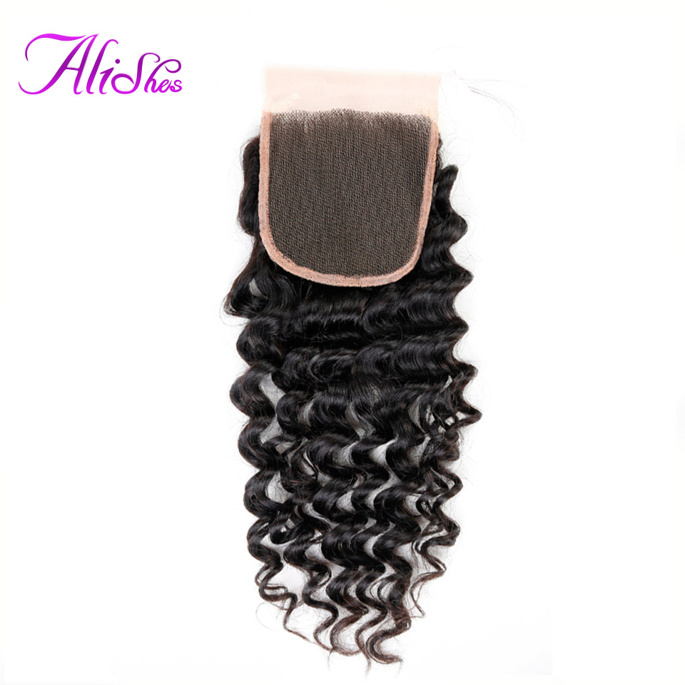 Alishes Hair Deep Wave Closure 4x4 Free Part Brazilian Hair Lace Closure Hand Tied Bleached Knotes 100% Remy Human Hair Closure