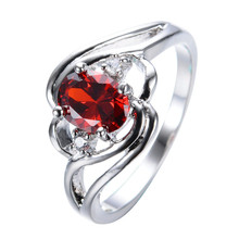 Red Blue Oval Stone Rings for Women Wedding Gift Rhinestone Cut Zircon Bright  Ring Bague Femme Jewelry Anillos L4H224 kcaloe lady women green stones ring charm brand jewelry antique black rhinestone natural stone wedding anniversary rings anillos