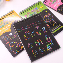 1 PC Scratch Note Black Cardboard Creative DIY Draw Sketch Notes for Kids Toy Notebook School Supplies Stationery Free shipping