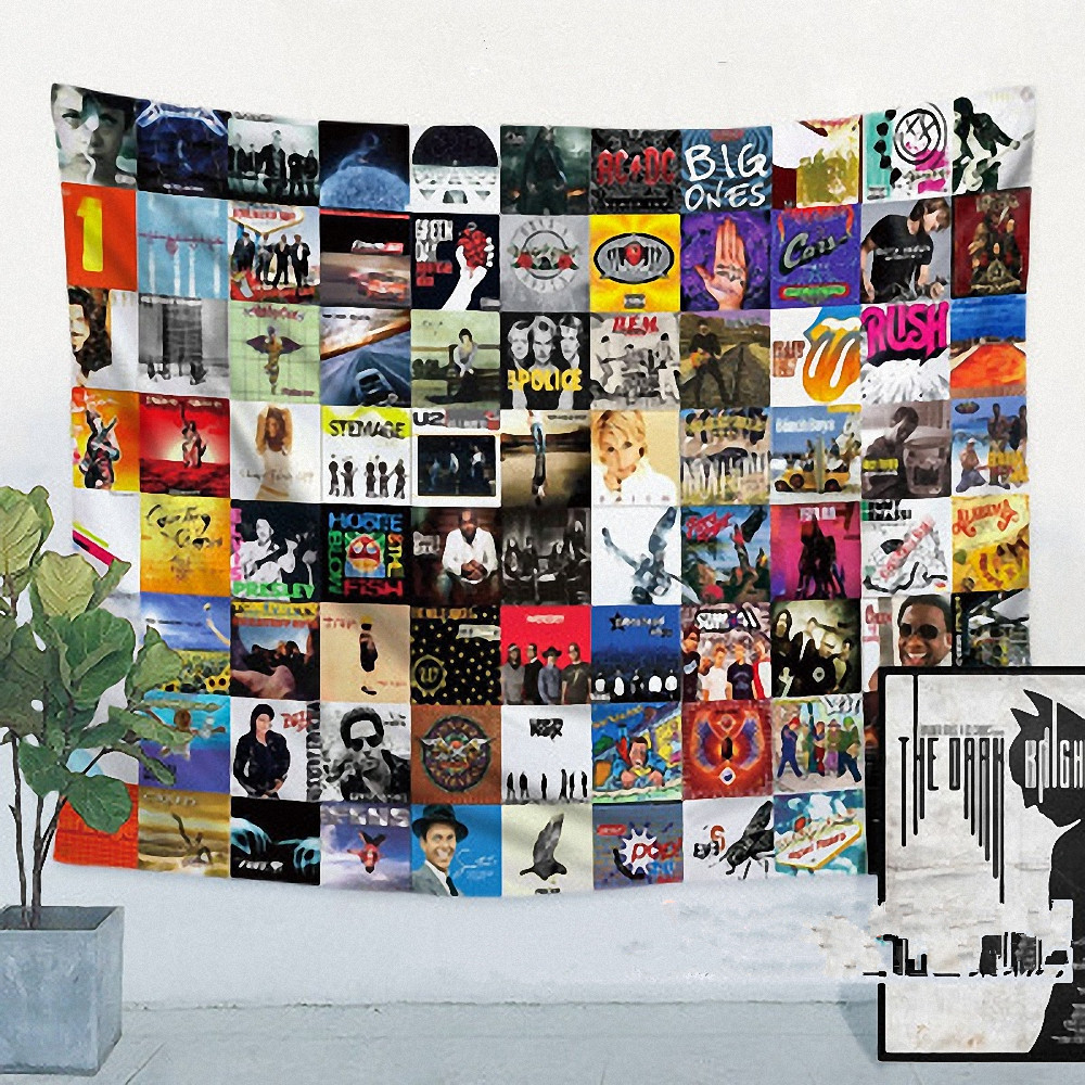 US $32 5  Retro Band LOGO Flag Banner Hip hop\Jazz\Reggae\Rock\Heavy metal  Music Poster Tapestry Hanging Painting Background Decor Cloth-in Flags,