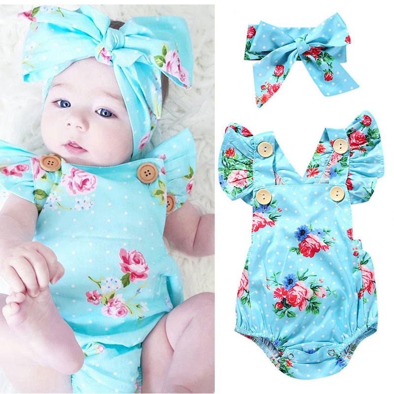 2017 Hot Summer Infant Girl Clothes Blue Flower Romper Hair Band Newborn Baby Gift Set Baby Outfit Infant Suit