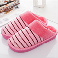 Winter Home Slippers Men Women Indoor Shoes Warm Cotton Striped Slipper Home Shoes Soft Floor Household Shoes Female/male Plush
