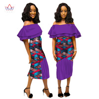 BRW 2017 Autumn african dresses for women vestidos Lace & Print Fabric Stitching african dress Ruffles african clothing WY1802