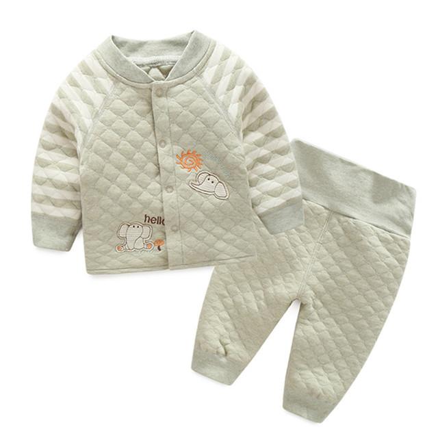 2017 nova orangemom Orgânica do bebê do algodão define 100% seguro para a roupa do bebê recém-nascido, top + bottom 2 pc/set sspring bebê menino roupas