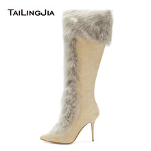 Women Tan Faux Suede High Heel Knee High Shearling Boots Pointy Toe Zipper Long Boots Beige Stilettos Ladies Winter Shoes 2018 women suede comfort thick heel knee high boots fashion zipper boots fall winter round toe 2018 shoes black brown dark gray