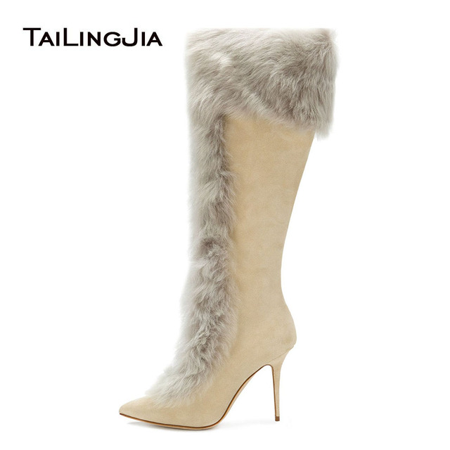 75e03c39aaa Women Tan Faux Suede High Heel Knee High Shearling Boots Pointy Toe Zipper  Long Boots Beige Stilettos Ladies Winter Shoes 2018