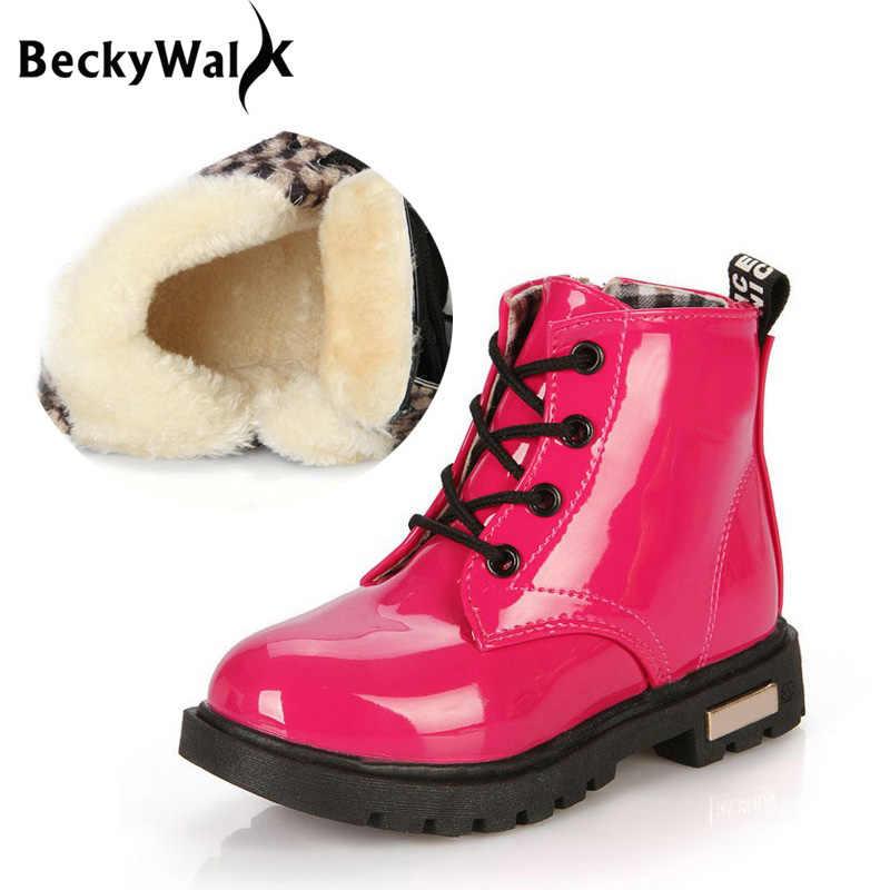 2018 新冬子供靴 Pu レザー防水マーティンブーツ子供の雪のブーツガールズボーイズラバーブーツスポーツスニーカー CSH043